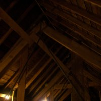 The beams that hold up the roof of the Music Hall.